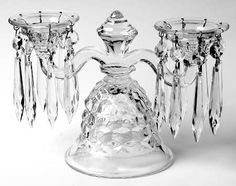 American Clear (Stem Double Candlestick Bobeche and 16 Prisms by Fostoria