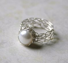 Silver Pearl Ring  Wire Crocheted Sterling by WrappedbyDesign, $55.00