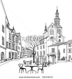 Street Cafe In Old City Cityscape