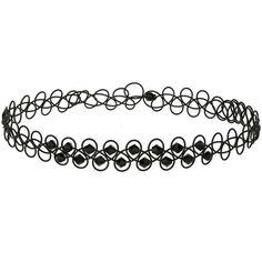 Miss Selfridge Tatto Choker ($11) ❤ liked on Polyvore featuring jewelry, necklaces, black, tattoo choker necklace, choker jewelry, tattoo choker, metal bead necklace and metal choker necklace