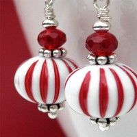 SALE - Red and White Peppermint Candy Christmas Earrings Bead Earrings, Crystal Earrings, Earrings Online, White Earrings, Beaded Jewelry, Handmade Jewelry, Do It Yourself Jewelry, Wedding Gifts For Bride, Christmas Earrings