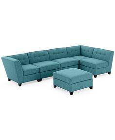 Harper Fabric 6- Piece Modular Sectional Sofa w/ Ottoman- Custom Colors  | macys.com