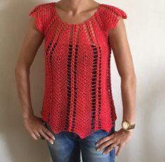 Magnifique blouse au crochet ajouré 2 / Linda blusa tejida a crochet fac...