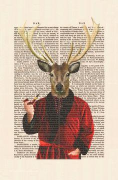 Deer In Smoking Jacket Portrait Acrylic Art Original by FabFunky