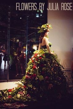 Gown made from Fresh Flowers by Julia rose for QT fashion week adn Awards  Wedding and Event Flowers by Julia rose