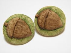 2 Handmade Acorn Buttons by BumblebeadsButtons on Etsy, $7.00