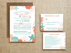 Beach Tropical WEDDING INVITATION printable Destination Wedding - Miami suite. $25.00, via Etsy.