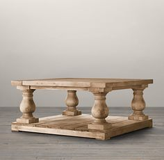 Balustrade Salvaged Wood Coffee Table Square | Restoration Hardware