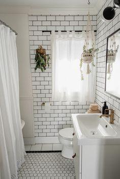 Modern bathroom renovation with white subway tile & IKEA vanity Craftsman Bathroom, Small Bathroom Renovations, Ikea Bathroom, Modern Bathroom, Bathroom Ideas, Bathroom Goals, Boho Bathroom, Bathroom Inspiration, Ikea Vanity