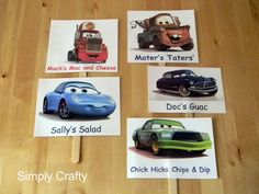 This is what I want for Gregory's Simply Crafty: Cars Party Food Signs Abby? Cars Party Foods, Party Food Signs, Party Food Labels, Car Themed Parties, Cars Birthday Parties, 3rd Birthday, Birthday Ideas, Happy Birthday, Disney Cars Party