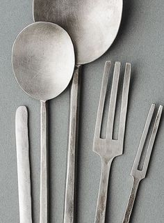 Handcrafted nickel silver cutlery by Yumi Nakamura, Japan.
