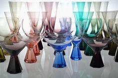 Bunte Friedrich Kristall Gläser aus den 60er Jahren  60s German Glasses