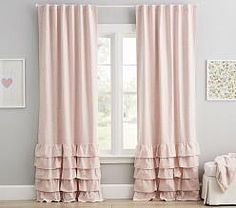 (In White) Evelyn Linen Blend Ruffle Bottom Blackout Panel Kids Blackout Curtains, Blackout Panels, Curtains For Kids, Teen Curtains, Diy Curtains, Girls Bedroom Curtains, Bedroom Decor, Baby Girl Curtains, Pink Curtains Nursery