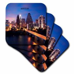3dRose Austin Texas, Soft Coasters, set of 4