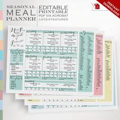 Seasonal meal planner that is editable and printable! 15 Meal Planning Printables and Notepads - http://amerrylife.com/2015/11/10/15-meal-planner-ideas-notepad-printable-meal-planners/