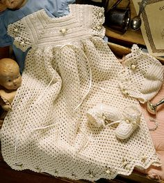 Spider Edge Crochet Christening Set ePattern - (Leisure Arts Leaflet A lacy spider pattern decorates the edges of this lovely… Baby Outfits, Kids Outfits, Baby Dresses, Summer Dresses, Baby Christening Gowns, Christening Outfit, Baptism Outfit, Crochet For Kids, Knit Crochet