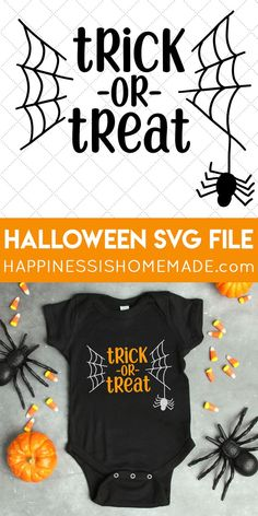 FREE Halloween SVG: Grab this Trick or Treat Halloween SVG file FREE for a limited time! Make your own Halloween shirts, onesies, trick or treat bags, and more! via cricut halloween Halloween Vinyl, Halloween Shirts Kids, Halloween Projects, Halloween Treats, Baby Halloween, Diy Halloween Bags, Halloween Decorations, Halloween Fonts, Halloween Designs