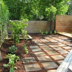 Love the idea of how to combine mulch and pavers.  I like both, and this idea makes me see they work rather well together!