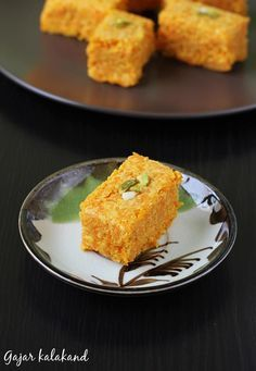 gajar kalakand recipe - a rich Indian dessert with all the goodness of gajar and richness of kalakand. Learn to make gajar kalakand with step by step photos