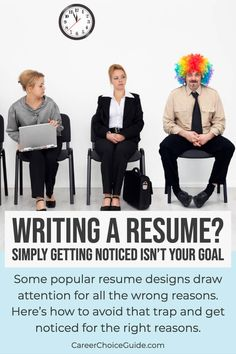 Writing a Resume? Simply getting noticed isn't your goal. Some popular resume designs draw attention for all the wrong reasons. Here's how to avoid that trap and get noticed for the right reasons. Resume Writing Tips, Resume Tips, Resume Examples, Resume Ideas, Cover Letter Tips, Writing A Cover Letter, Cover Letters, Job Interview Questions, Job Interview Tips