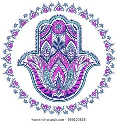 Find Vector Indian Hamsa Hand Symbol Multicolor stock images in HD and millions of other royalty-free stock photos, illustrations and vectors in the Shutterstock collection. Tatouage Hamsa, Hamsa Tattoo, Third Eye, Hamsa Art, Inspirational Rocks, Hand Symbols, Art Painting Gallery, Mandala Drawing, Jewish Art