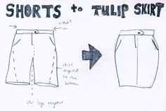 Shorts to a tulip skirt. Great little tutorial.