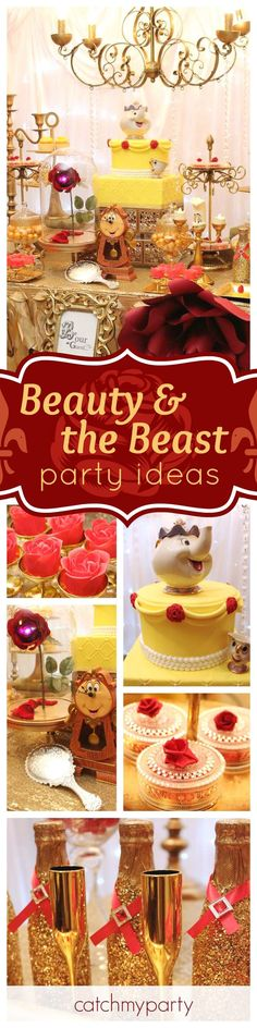 Be our guest and take a look at this wonderful Beauty & the Beast birthday party. The dessert table is fabulous!! See more party ideas and share yours at http://CatchMyParty.com