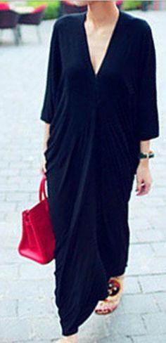 kimono sleeve v neck dress