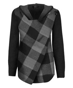 Black Plaid Wrap Sweater