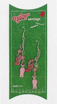 7085fb8118 A Christmas Story Pink Bunny Earings. Featuring the movie logo and the  iconic Ralphie in the pink bunny PJ s!