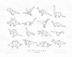 Dinosaurus origami set flat royalty-free dinosaurus origami set flat stock vector art & more images of dinosaur Origami Tattoo, Dinosaur Outline, Dinosaur Drawing, Dinosaur Art, Dinosaur Origami, Origami Set, Dinosaur Images, Tattoo Outline, Desenho Tattoo