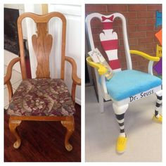 Seuss Chair Makeover - turn trash to treasure! Cute for a childs playroom or reading nook Painted Chairs, Painted Furniture, Funky Furniture, Redoing Furniture, Furniture Dolly, Repurposed Furniture, Cheap Furniture, Dr Seuss Chairs, Teacher Chairs