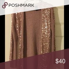 Long Mauve Pink Sequin Knit Cardigan Long Mauve Pink Knit Cardigan with Sequins on Front and Down the Arms. Bought at Victoria Secret Online. Missing one Button (can be seen in photo) Moda International Sweaters Cardigans