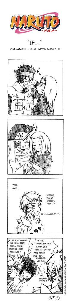 Naruto Doujinshi - If. by SmartChocoBear on DeviantArt. Comic Naruto, Manga Naruto, Sasuke Sakura Sarada, Naruto Shippuden Anime, Naruto Images, Naruto Pictures, Sasusaku Doujinshi, Shikatema, Funny Naruto Memes