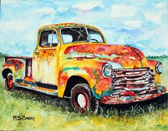 Rusty Old Truck Painting - Rusty Old Truck Fine Art Print
