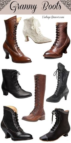 Granny boots, lace up boots, witches boots, old ladies boots, wedding boots at VintageDancer.ccom