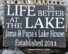 Lake House - Lake Decor - Lake House Sign - Family Name - Life Is Better - Established - Cabin - River - Personalized - Custom - Wood