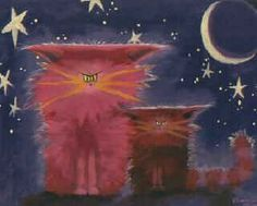 Pink Cranky Cats at Night. Cranky Cat Art by Cynthia S. - Cat Alley - Cat Lovers Gifts