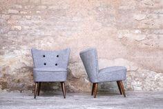 Paire de fauteuils cocktail vintage circa 60′ relookée en laine bouillie – 650€