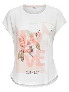 PRINTET T-SHIRT Tee Design, Print Design, Girls Tennis Skirt, Great T Shirts, T Shirts For Women, T Shirt Flowers, Designs To Draw, Fashion Prints, Aldo