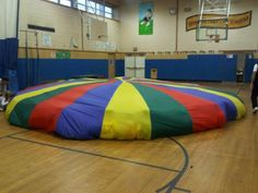 Such an awesome experience!  I remember how the entire class would get SO excited, when Mr. S would bring out the Parachute for P.E.  It was a completely different world under that fabric rainbow.