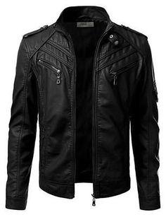 New Stylish Black Men's Genuine Lambskin Leather Jacket Slim Fit Biker Coat -067