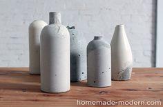 Des vases à faire soi-même, moulés à partir de récipients de récupération > http://homemade-modern.com/ep27-concrete-vases/