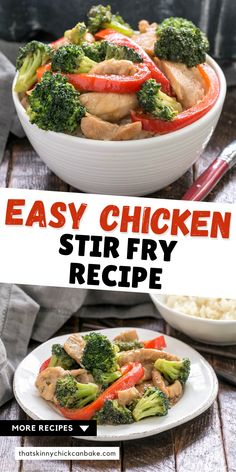 Easy Chicken Stir Fry with Broccoli, Red Bell Peppers, and a scrumptious homemade stir fry sauce and marinade! A great weeknight, 30-minute meal the whole family will love!