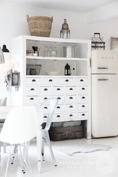vintage furniture painted white goes with the nordic modern mix which includes Moroccan style somehow!