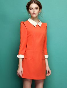 Orange Contrast Lapel Long Sleeve Slim Dress my kind of style White Collar Dress, Peter Pan Collar Dress, Look Fashion, Hijab Fashion, Fashion Dresses, The Dress, Dress Skirt, Cute Dresses, Short Dresses