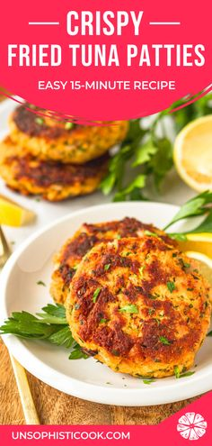 Crispy Fried Tuna Patties -- this easy tuna patties recipe is a super quick easy and healthy dinner idea! Adding a touch of mayo keeps these tuna cakes tender on the inside yet crunchy & delicious on the outside. Canned Tuna Recipes, Fish Recipes, Lunch Recipes, Seafood Recipes, Breakfast Recipes, Dinner Recipes, Cooking Recipes, Healthy Recipes, Spicy Recipes