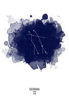 Sternbild Gemini, Gemini Sternzeichen, Aquarell von Gemini, Gemini Digital, Tierkreis-Sternbild, Zodiac drucken, Sternbild, Zwillinge druckbare