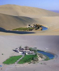 The Crescent Lake is located about 6 kilometers south of Dunhuang city in western China. It is a wonder in the Gobi desert.