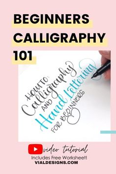 In this video tutorial you'll learn everything you need to get started with Modern Calligraphy for beginners | Includes access to a FREE calligraphy practice worksheet. #vialdesigns #moderncalligraphy #learncalligaphy #learnlettering Calligraphy Tutorial Beginners, Modern Calligraphy Tutorial, Hand Lettering For Beginners, Hand Lettering Tutorial, Calligraphy Supplies, Calligraphy Practice, Calligraphy Quotes Scriptures, Brush Lettering Quotes, Hand Lettering Alphabet